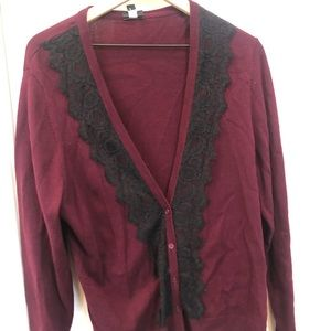 TORRID BURGUNDY CARDIGAN WITH BLACK LACE DETAIL